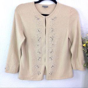 Ann Taylor angora wool blend embellished beaded